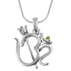 Surat Diamond Om With Trishul Real Diamond & Sterling Silver Pendant With 18 IN Chain SDP320