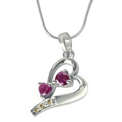 Surat Diamond The House Of Love Real Diamond, Red Ruby & Sterling Silver Pendant With 18 IN Chain SDP323