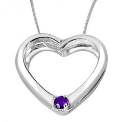 """Surat Diamond You""""re Still The One Amethyst & Sterling Silver Pendant With 18 IN Chain SDP331"""