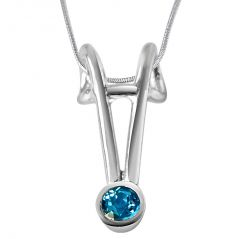 Surat Diamond Queen Of Hearts Blue Topaz & Sterling Silver Pendant With 18 IN Chain SDP334