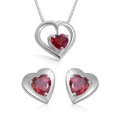 Heart Shaped Garnet Earring & Pendant With Silver Finished Chains Surat Diamond SDS115