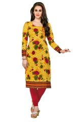 Salwar Studio Women's Yellow & Red Cotton Jacquard Floral Printed Unstitched Kurti Fabric (only Kurti Fabric)-COOLCOTTON-2115