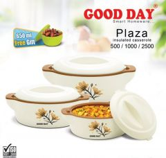 Bms Goodday Plaza Insulated Hot Pot Casserole Gift Set, 3 PCs ,with Free 650ml Bowl