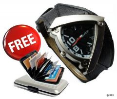 Biker Leather Watch Free Aluminium Credit Card Wallet