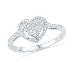 Jpearls 18 Kt Gold Heart To Heart Diamond Finger Ring