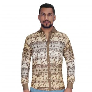 Panel Print Design In Khaki & Brown Color Shirt By Corporate Club (code - Cc - Pp453 - 04)