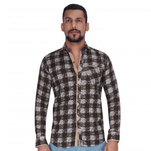Brown With White Over Checks Print Shirt By Corporate Club (code - Cc - Pp103 - 01)