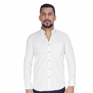 White Ground With Navy Print And Dot Shirt By Corporate Club (code - Cc - Pp119 - 04)