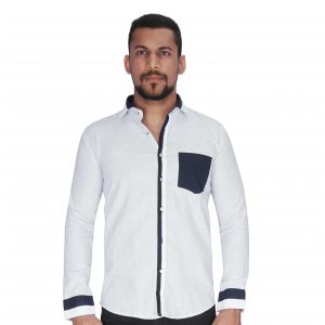 White Ground With Black Dot Print Shirt By Corporate Club (code - Cc - Pp106 - 04)