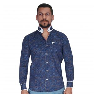 Navy With Turquoise & Rust Print With Chinese Collar Shirt By Corporate Club (code - Cc - Pp70 - 04)