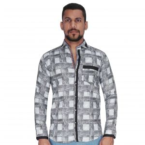 Black And White Print Checks Shirt By Corporate Club (code - Cc - Pp102 - 01)