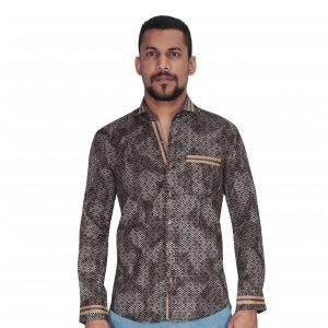 Brown With White Print Shirt By Corporate Club (code - Cc - Pp101 - 01)