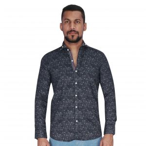 Navy With Bluish Grey Print Shirt By Corporate Club (code - Cc - Pp46 - 04)