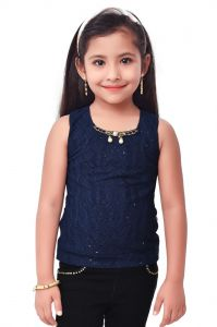Semi Party Wear Western Top With Separate Sleeves For Kids - Navy Blue By Triki (code - 693 Navy)
