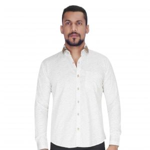 White With Black & Khaki Print Shirt By Corporate Club (code - Cc - Pp32 - 01)