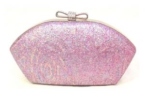 Clutches - Pink Toned Shimmery Party Clutch with Sling Strap by Boga - (Code - Clutch-PPC7)