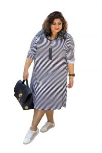 The Plum Tree Nautical Stripe Dress Black Border Casual Wear (code - Ptcd003)