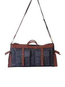 Blue And Brown 4 Pocket Duffel Bag By Strutt (code -smd514)