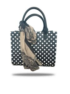 Black And White Polka Dot Tote By Strutt (code -smt159)
