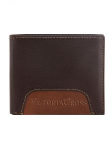 Mens Leather Wallet (2 Tone Brown) By Victoria Cross (code - Vcw 07)