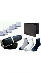 - 3 Pairs Ankle Socks 6 PCs Handkerchiefs 1 Reversible Belt And 1 Wallet