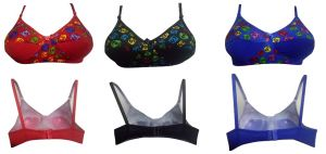 Set Of 3 Comfortable Hosiery Cotton Colorful Designer Bra(Code - Set Of 3 Sneha)