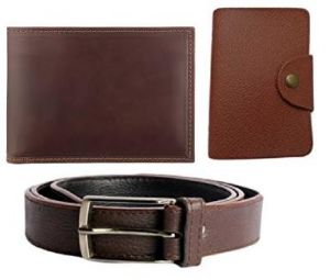 High Quality Faux Leather Belt And Wallet And Pu Leather Card Holder In Brown
