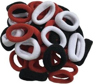 Hair accessories for girls - Atyourdoor Black,red And White Hair Rubber Bands For Girls - 50 Pieces