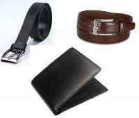 Combo Of Italian Leather Wallet And 2 Leatherite Belts