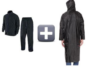 Rain Breaker Nylon Black Raincoat Combo For Rainy Season With Carry Pouch