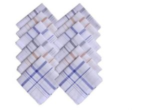 Mens White Cotton Handkerchiefs Set Of 12 PCs In Box
