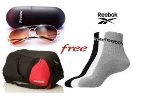 Reebok Gym Duffle Bag And Reebok Socks With Free Reebok Sunglasses