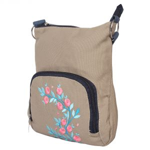 Beige Sling With Blue Embroidery