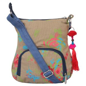 Pick Pocket Beige Sling With Red Flowers