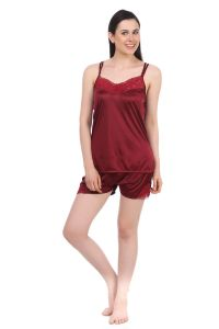 platinum,port,mahi,avsar,la intimo,fasense,oviya Night Suits - Fasense Women Satin Nightwear Sleepwear Night Suit Top & Shorts DP041 D