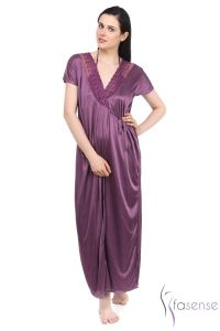 Fasense Satin Purple 2pc Set Robe & Nighty Dp043 A