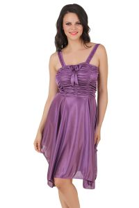 tng,fasense,soie Night Suits - Fasense Exclusive Women Satin Nightwear Sleepwear Short Nighty DP057 E