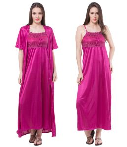 kiara,fasense,flora,valentine,kaamastra Nightgown Sets - Fasense Women Satin Nightwear Sleepwear 2 Pc Set Nighty & Wrap Gown DP111 D