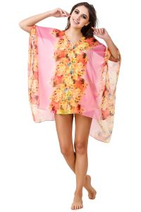 Fasense Floral Printed Pink Multi Beachwear Cover Up MM002 A
