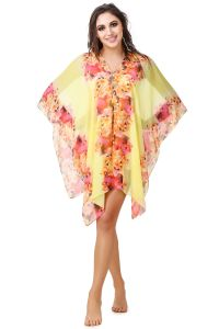 Fasense Floral Printed Yellow Multi Beachwear Cover Up MM002 D