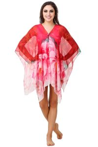 Fasense Floral Printed Red Multi Beachwear Cover Up MM004 A