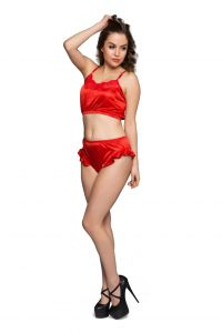 Clovia Crop Cami & High Waist Brief Set In Satin NSM285P04