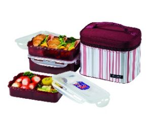 Lock&lock Lunch Box, 3-pieces, Pink-red