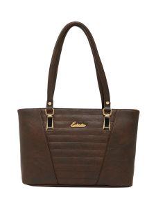 ESBEDA Brown Checks Pu Synthetic Fabric Handbag For Women-1837