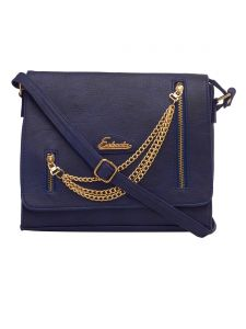 ESBEDA Dark Blue Color Solid Pu Synthetic Fabric Slingbag For Women(Code-2455)