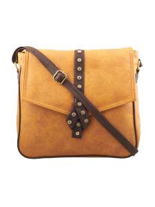 ESBEDA Light Tan-Dark Brown Solid Pu Synthetic Fabric Slingbag For Womens(Code-2558)