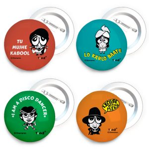 Yedaz Bollywood Badge With Safety-Pin Back Combo Of Carcicature