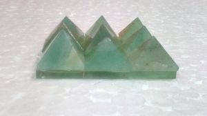 Green Aventurine Set Of 9 Small Pyramids On A Plate Crystals Healing Crystal