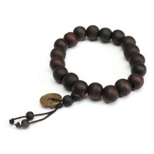 Tibetan Buddhist Prayer Mala Black/dark Brown Wood Bracelet With Feng Shui Coin