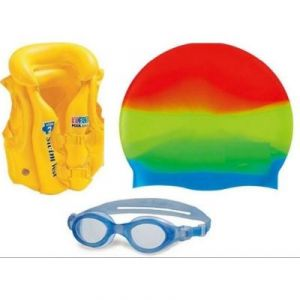 fe673b74e28 Buy Asfit Adult's Swimming Goggle With Cap, Ear Plugs & Nose Pin ...